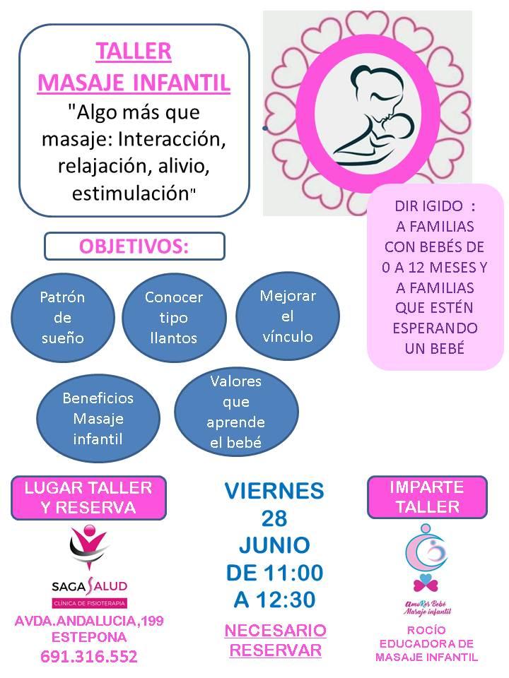 Taller de masaje infantil para el viernes 28 de junio